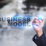 Types of Business Organization Models- Businessman is drawing on virtual screen. business model concept.
